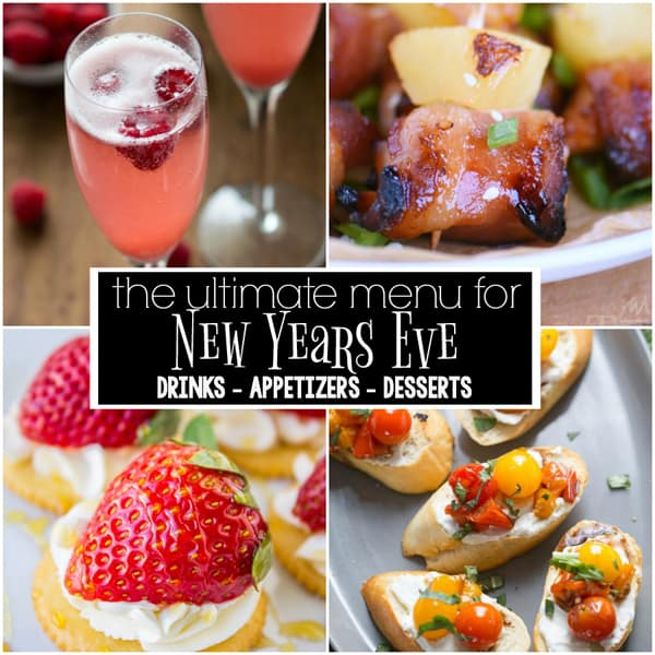 This is the ULTIMATE New Year's Eve Menu with 18 recipes for drinks, appetizers, and dessert.