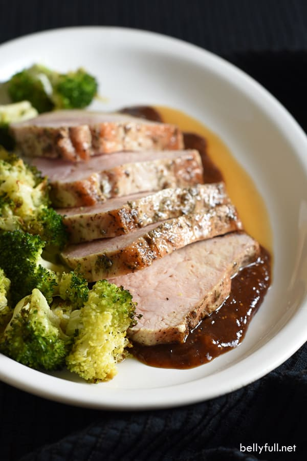 Pork loin filet is rubbed with salt, pepper, and thyme, then roasted and topped with a sublime fig sauce. Festive and simple, perfect for holiday entertaining!