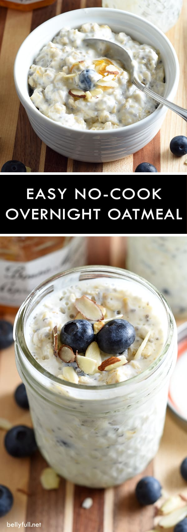 No-Cook Overnight Oatmeal - this overnight oatmeal comes together in just 5 minutes and is easily customizable using your favorite fruit and jam. Requires no cooking, and since it's prepared in a single serving jar with lid, it's perfect for on the go, too!