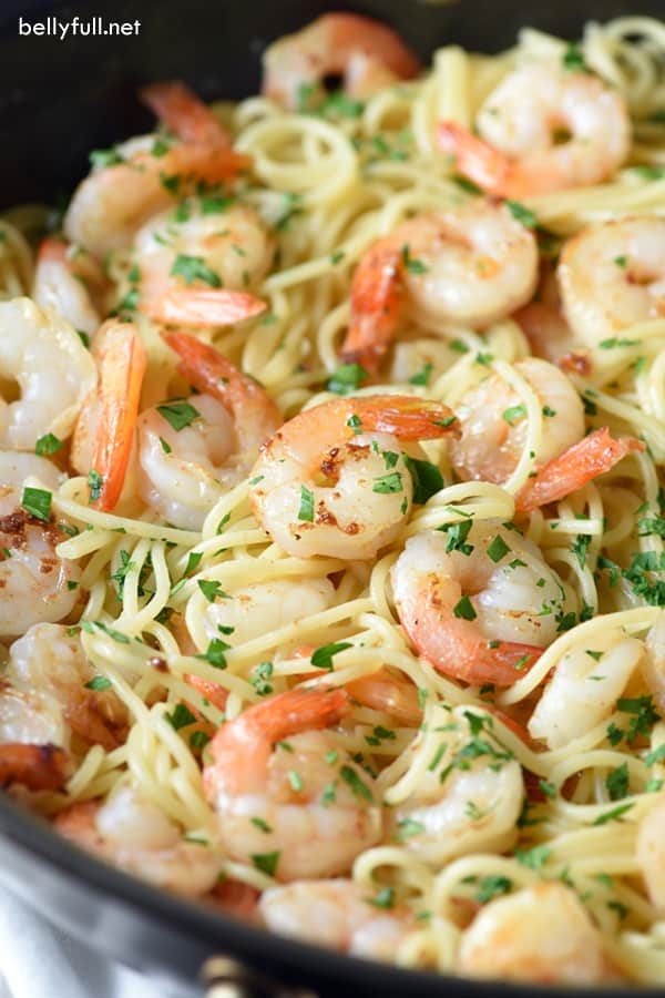 close up picture of Orange-Balsamic Shrimp Pasta in pan