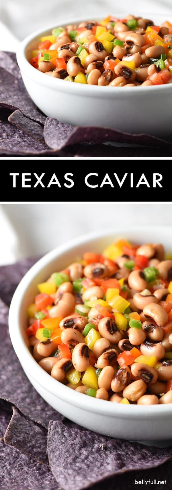 This Texas Caviar is a cross between a salad and a dip, made up of black-eyed peas and colorful bell peppers, lightly pickled in a vinaigrette dressing and served with blue corn tortilla chips!
