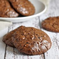 These flourless chocolate cookies are like a rich and fudgy flat brownie. Nobody will even miss the flour!