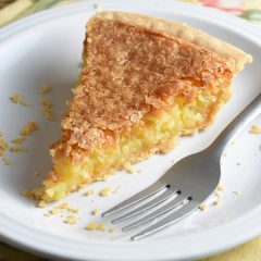 slice of Coconut Pie on white plate