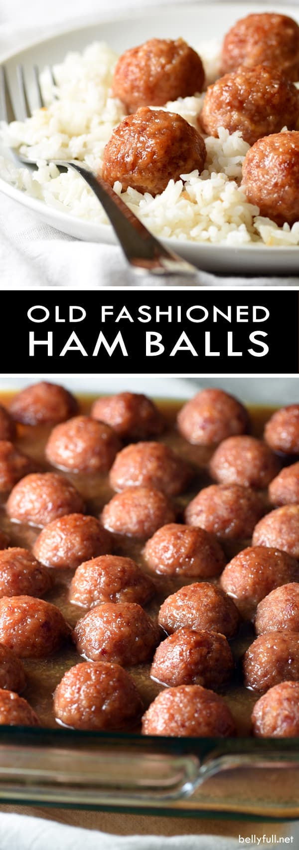 Old Fashioned Ham Balls are tender, sweet and salty meatballs of bliss! Serve over rice, in a stir fry, cut in half on pizza, or all on their own as an appetizer.