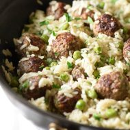 Meatball and Rice Skillet with Baby Peas - a delicious and easy weeknight meal all in one pot, featuring baked rice, meatballs, and sweet baby peas.