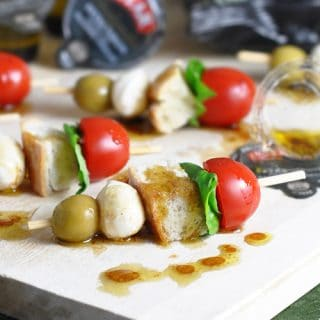 Mini Caprese Skewers - your favorite caprese salad served on a skewer as an appetizer. Comes together in only 10 minutes!