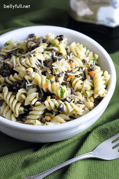 Olive and Pine Nut Pasta - this is an ideal summer dish where olives and pine nuts are the stars. Simple, delicious, and the only cooking required is the pasta!