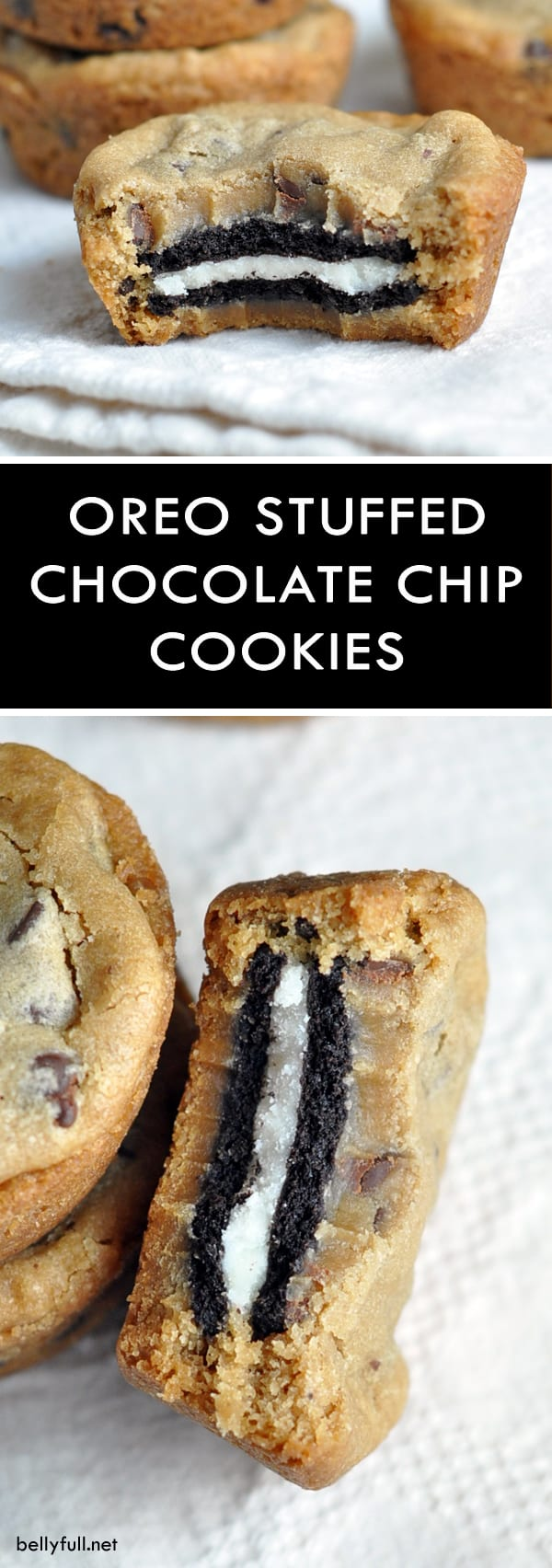 These Oreo Stuffed Chocolate Chip Cookies are double stuffed Oreo cookies sandwiched in between two chocolate chip cookies. The BEST cookies ever!