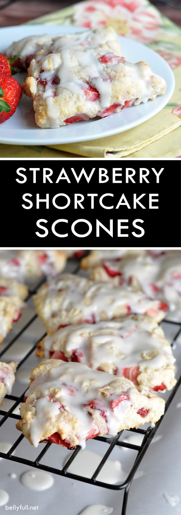 picture of strawberry scones with icing