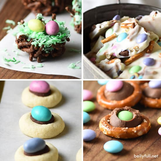 Super easy treats for springtime and Easter! Including Chocolate Pretzel Bark, Bird's Nests, Thumbprint Cookies, and M&M Pretzel Rings.