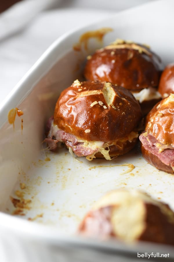 picture of Reuben Pretzel Sliders in pan