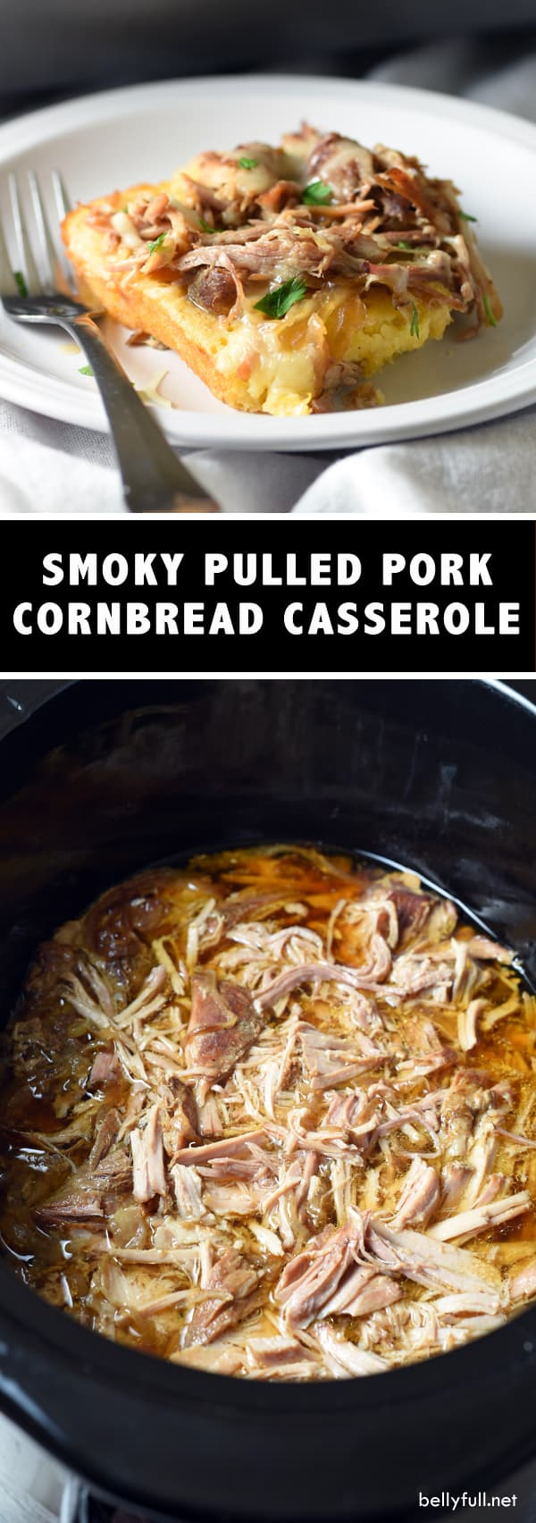 Sweet & Smoky Pulled Pork Cornbread Casserole - seasoned pork roast is slow cooked, then baked on top of savory cornbread and topped wth melted cheese to perfection! #RealFlavorRealFast