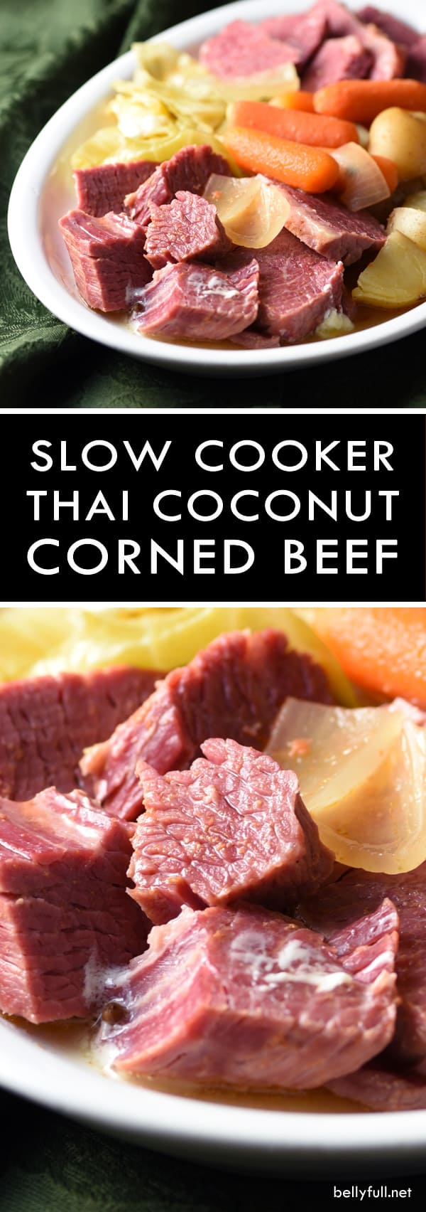Slow Cooker Thai Coconut Corned Beef and Cabbage - red curry paste and coconut milk give this typical meal a Thai flair, that's subtly sweet and rich. All done in the crockpot. The wonderful broth lends itself toward a great soup, too!