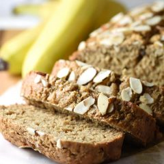 Almond Butter Banana Bread - A healthy version of banana bread, made with almond butter, honey, and buttermilk. But still absolutely delicious!