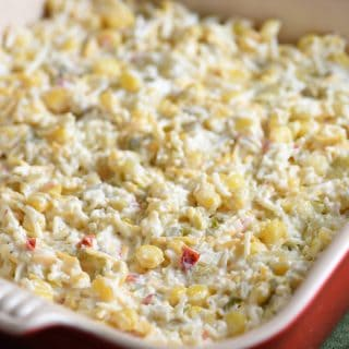 This cheesy corn dip is pure comfort food and ridiculously easy to make! Perfect for get togethers or a Cinco de Mayo party!
