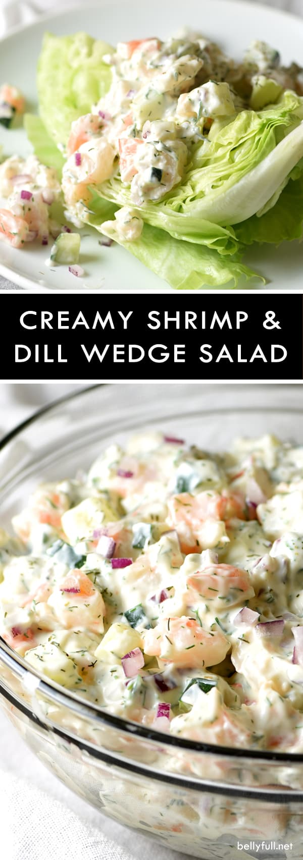 Creamy Shrimp and Dill Wedge Salad - a creamy shrimp and dill mixture sit on top of crisp, fresh lettuce. This salad is layered with flavor, refreshing, and super easy to make!