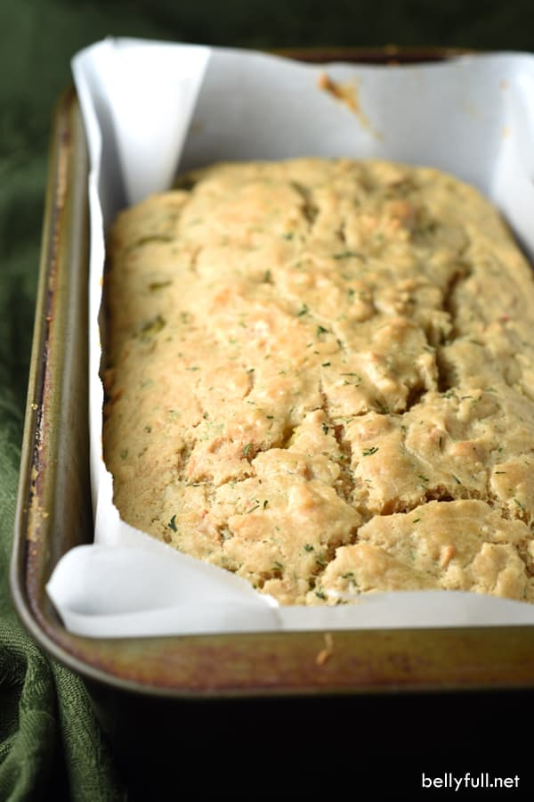 picture of dill pickle onion quick bread loaf in pan