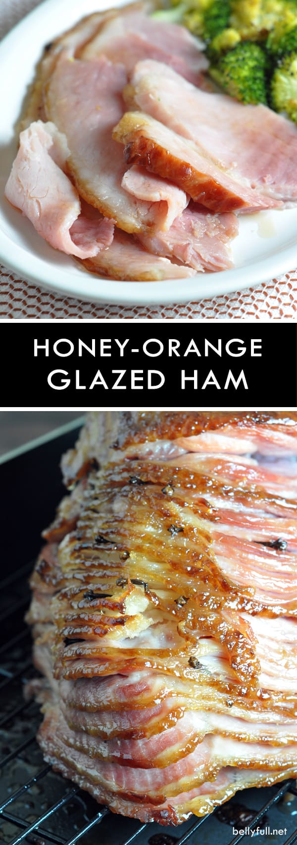A spiral ham is studded with whole cloves then coated in a simple glaze of honey, brown sugar, and orange juice.