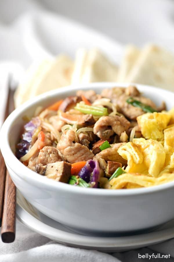 Moo Shu Pork in white bowl