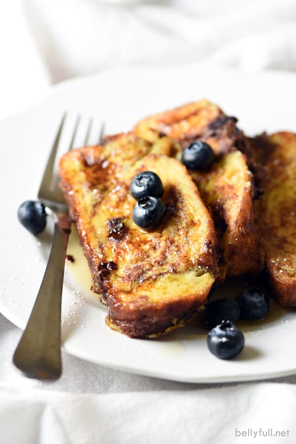 Chocolate Challah French Toast - french toast just got elevated by using chocolate challah bread. Great for breakfast, lunch, dinner, or even dessert!