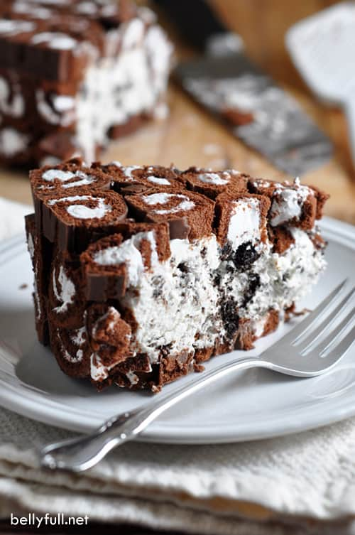 This no-bake cake is the ultimate treat with layers of sliced Swiss Rolls and a creamy Oreo cheesecake filling.