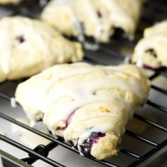 Blueberry Lemon Scones - tender flaky scones with fresh blueberries throughout and a dreamy lemony glaze!