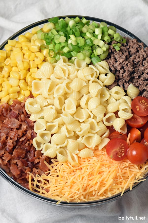 Cowboy Pasta Salad ingredients