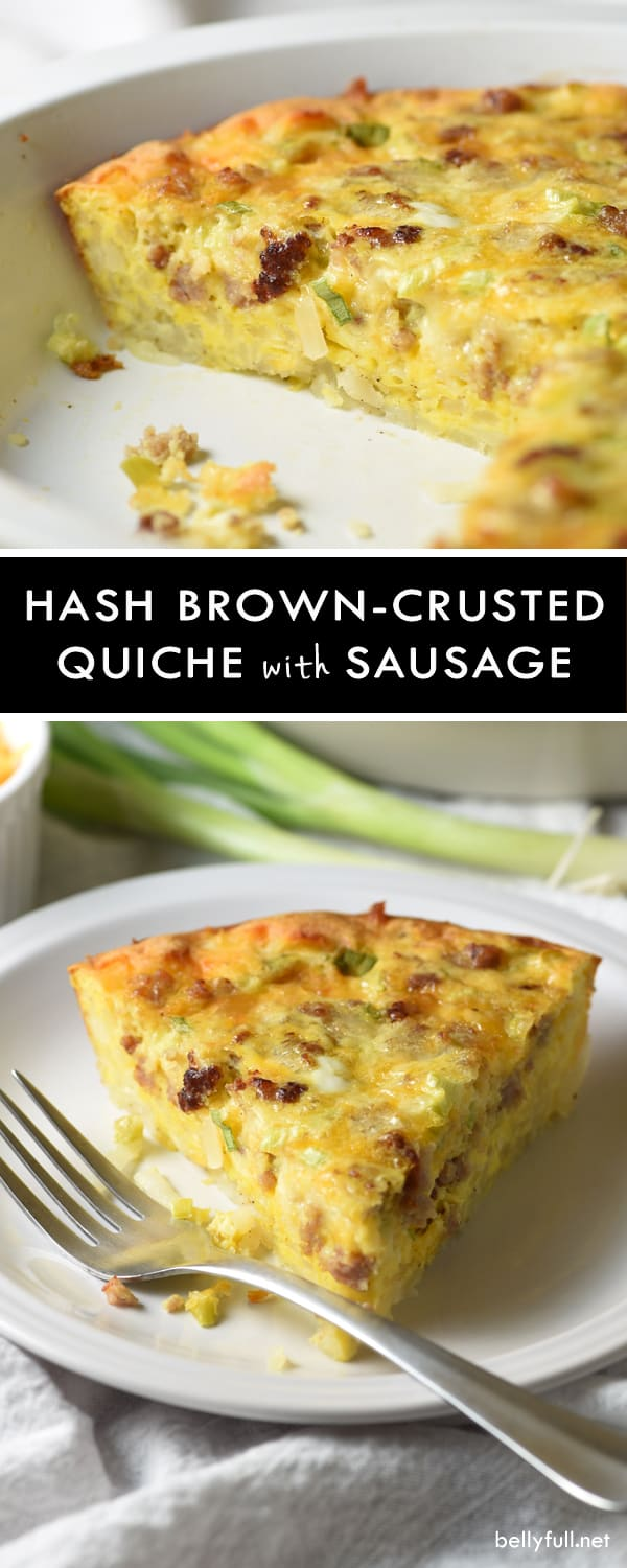 Hash Brown-Crusted Quiche with Sausage - take quiche up a notch by adding a crispy hash brown crust and flavorful sausage. Super easy and perfect for breakfast, brunch, or even dinner!
