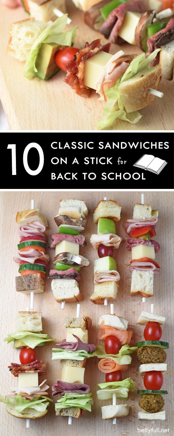 10 Classic Sandwiches On A Stick for Back To School. So simple and fun, you might want them for your own lunch box!