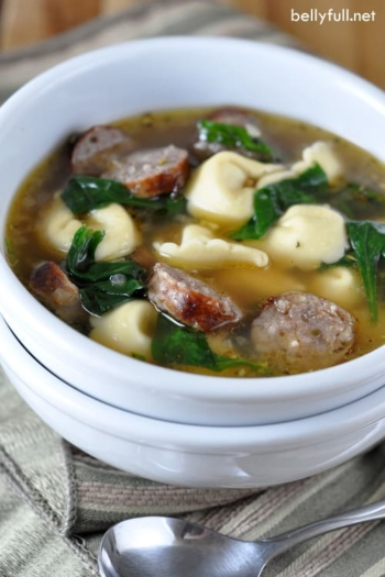 This soup is loaded with cheese-filled tortellini, sweet sausage, spinach, and Italian seasonings. Flavorful, comforting, and ready in 30 minutes!