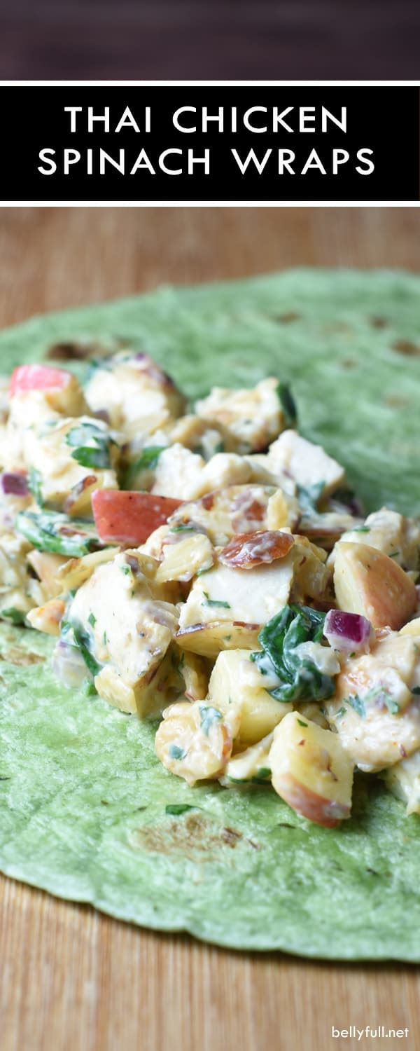 An easy Thai inspired wrap made with chicken, spinach, curry paste, apples, almonds, and a honey-yogurt spread. Good all year round!