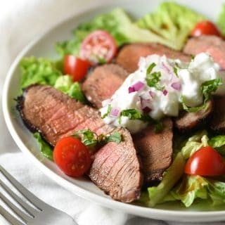 Grilled Steak Salad with Tzatziki Sauce