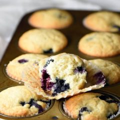 These Quick and Easy One-Bowl Blueberry Muffins are light, fluffy, and loaded with blueberries. With only one bowl clean up is a breeze. Perfect for breakfast on the go!