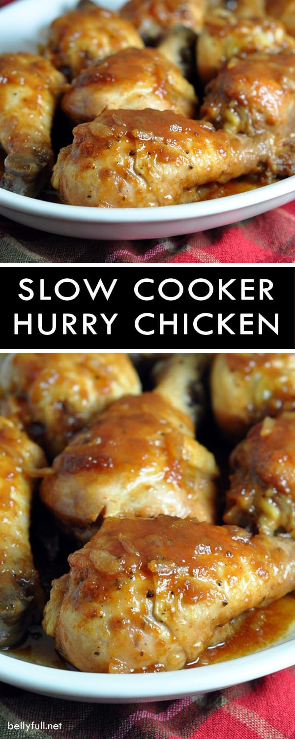 Slow Cooker Hurry Chicken - a sweet and tangy, super easy, and inexpensive crock pot chicken dish made with pantry staples!