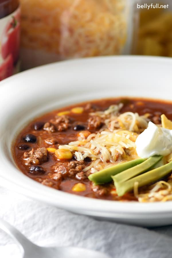This Slow Cooker Taco Soup is an easy meal made in your crock pot using pantry staples! Super nutritious also, to get you through cold and flu season!