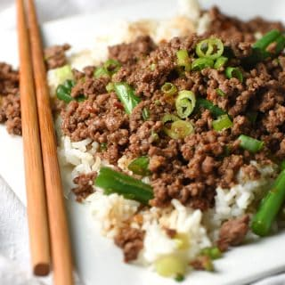 Cheater Korean Beef - this cheater version of Korean BBQ uses ground beef instead of flank steak, making it easier and cheaper, but just as tasty. And ready in 15 minutes!