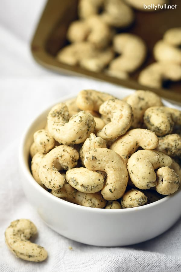 Homemade Dill Pickle Cashews in white bowl