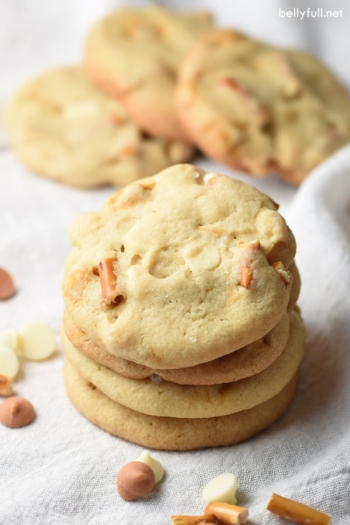 Soft cookies loaded with white chocolate, butterscotch chips, and pretzel pieces. The perfect sweet and salty combination!