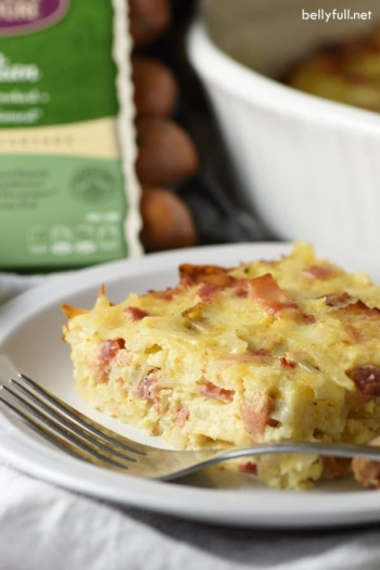 This hearty homestyle Make-Ahead Amish Breakfast Casserole is filled with hash browns, cheese, bacon, and chicken sausage. So easy. So good. Perfect for a weekend brunch or holiday get together!