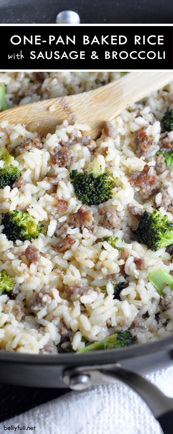 One Pot Baked Rice with Sausage and Broccoli