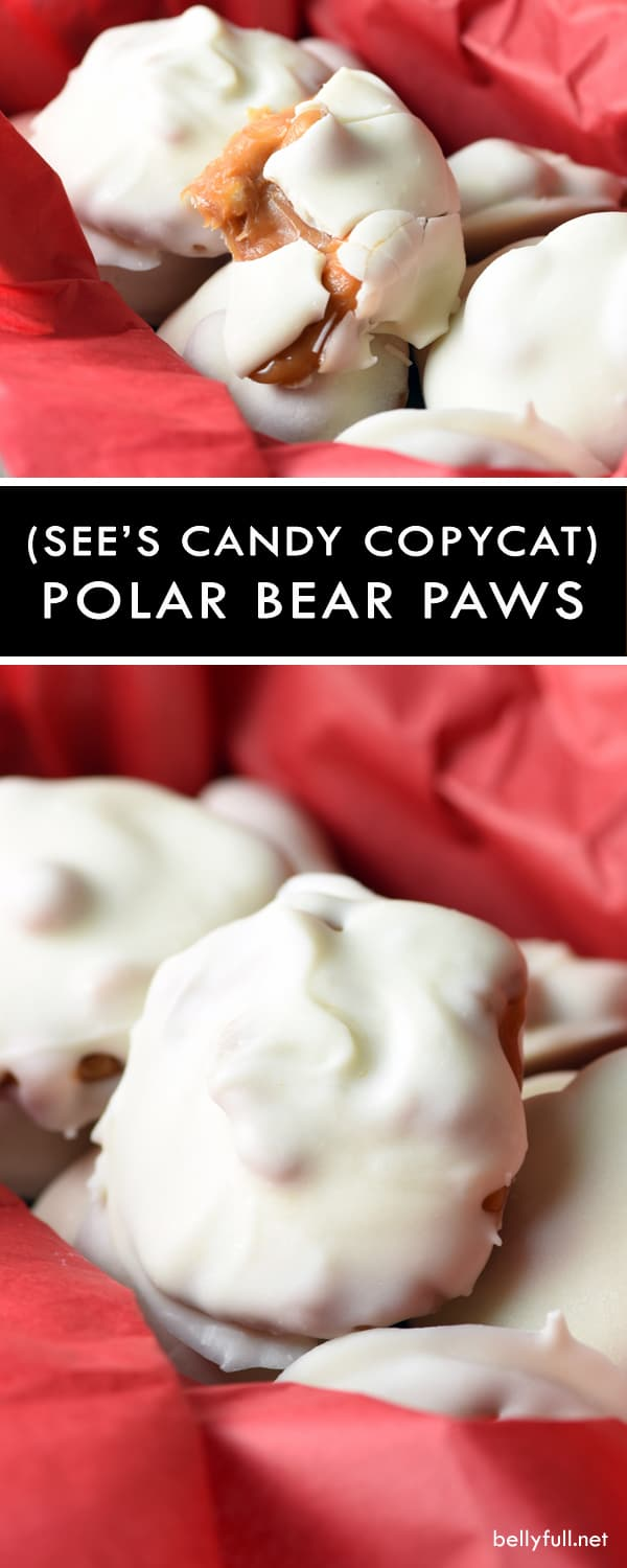 These Polar Bear Paws are the perfect sweet and salty treat, filled with roasted nuts and caramel, then coated in silky white chocolate. Perfect for the holidays!