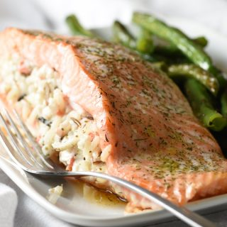 Wild Rice Stuffed Salmon