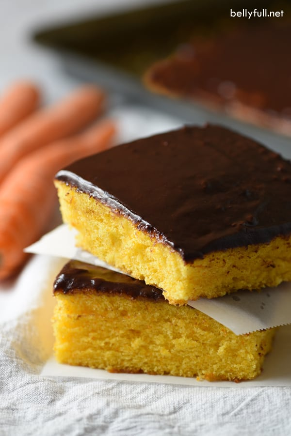This Brazilian Carrot Sheet Cake is naturally sweet from carrots, fluffy, and coated with a thin layer of chocolate icing. The American carrot cake version doesn't even compare!