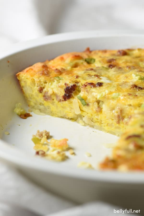 Hash Brown-Crusted Quiche with Sausage in baking dish