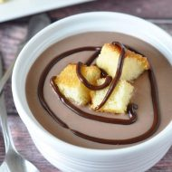 Milk Chocolate Soup with Cake Croutons is classic comfort food repackaged into a fun and luscious dessert soup for chocolate lovers!