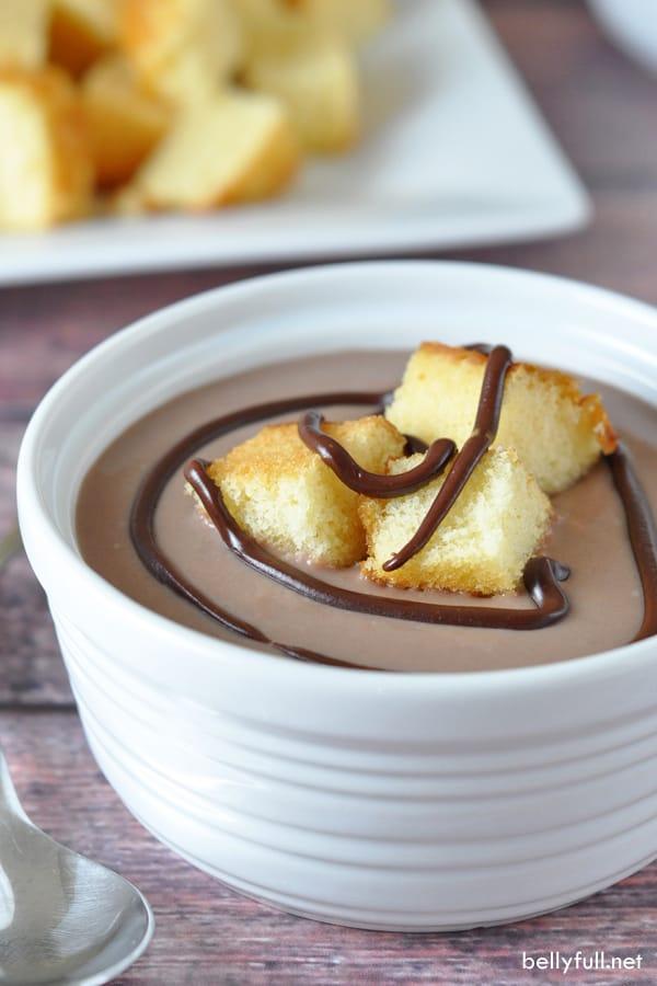 Milk Chocolate Soup with Cake Croutons in white ramekin