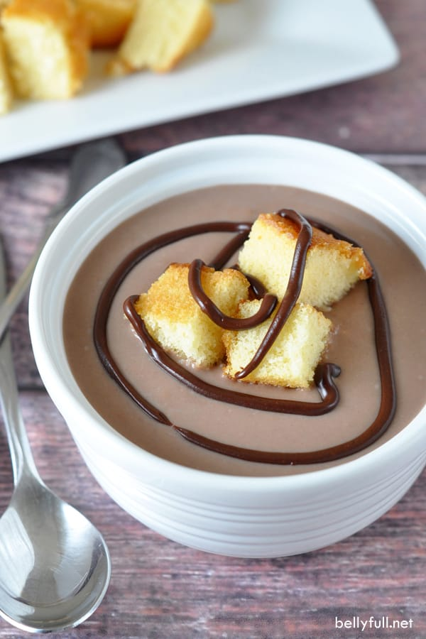 top down picture of Milk Chocolate Soup with Cake Croutons in white bowl