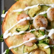 These Shrimp and Zucchini Tostadas are on the table in 25 minutes. Super flavorful and no fuss!
