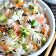 These Sushi Slacker Bowls are California Rolls deconstructed - all the ingredients, but served in a bowl, without the rolling. But just as yummy!