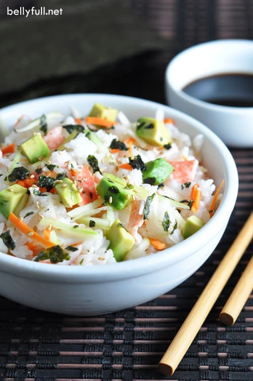 These Slacker Sushi Bowls are California Rolls deconstructed - all the ingredients, but served in a bowl, without the rolling. But just as yummy!